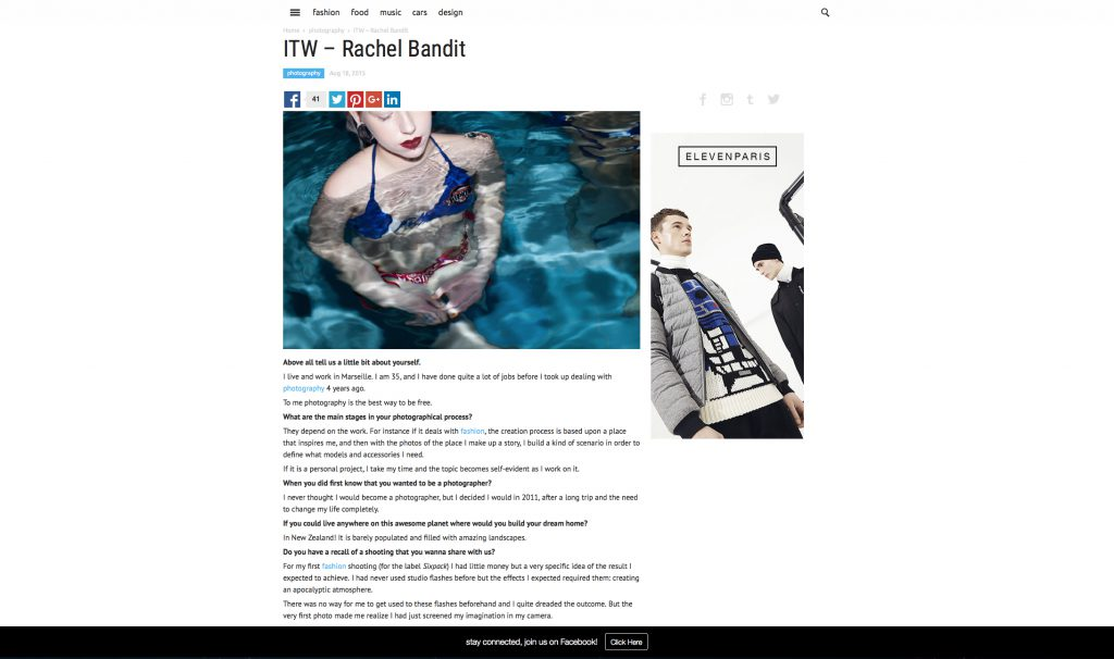 Rachel Bandit photographe interview Sundrymag